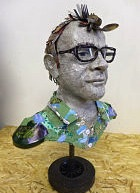 Recycled portrait bust of Hugh Fearnley Whittingstall, by Michelle Reader
