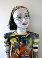 Oriana, recycled portrait sculpture by Michelle Reader (detail)